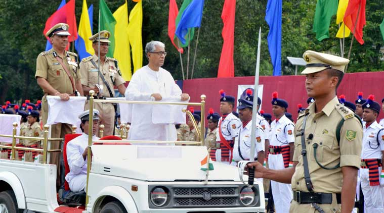 Tripura Chief Minister Manik Sarkar inspects the parade during the celebration of 69th Independence Day in Agartala, on Saturday. (Source: PTI Photo)