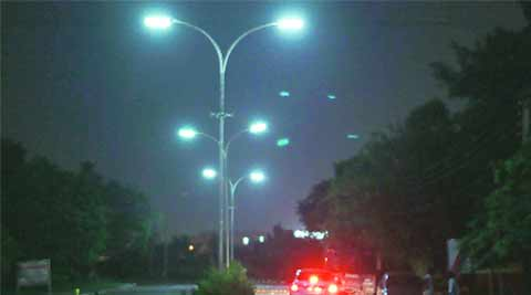 Manohar lal khattar, CM Manohar lal khattar, street light, police station light, police station street light, chandigarh news, indian express