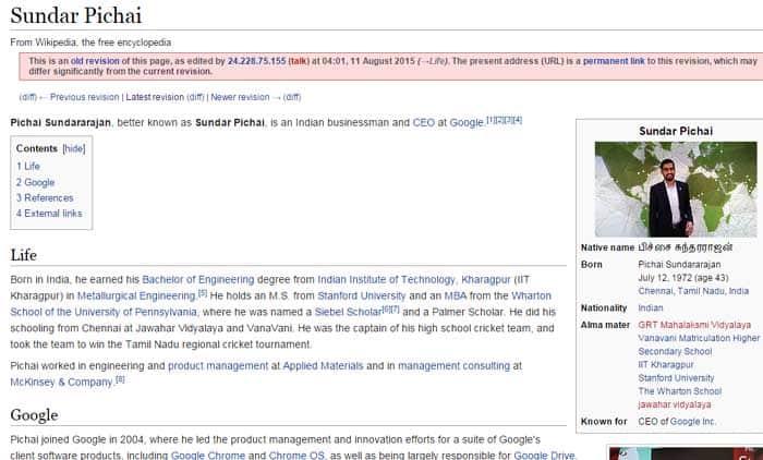Sundar Pichai, Sundar Pichai Wikipedia page war, Pichai Wikipedia Page war, Wikipedia war over Sundar Pichai, Sundar Pichai Wikipedia Google CEO Sundar Pichai, Sundar Pichai Google CEO, Sundar Pichai Google Alphabet, Alphabet, Google CEO, Sundar Pichai, Google Larry Page, Google Alphabet, google new CEO, What is Alphabet, News about Sundar Pichai, Technology, technology news