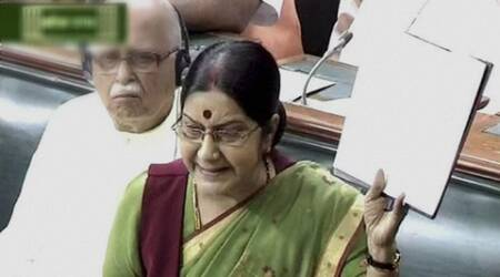 Sushma Swaraj hits back at Congress, targets Rajiv Gandhi