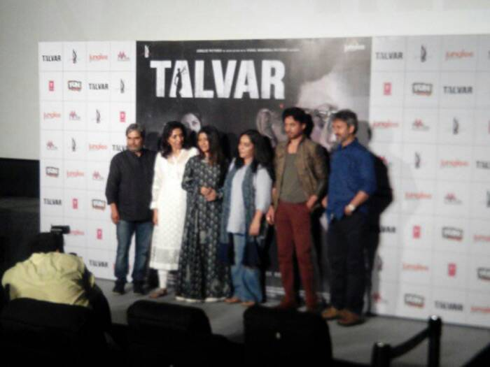 The cast of 'Talvar' at the trailer launch of the film.