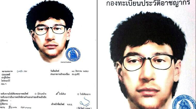 "This image released by the Royal Thai Police on Wednesday, Aug. 19, 2015, shows a detailed sketch of the main suspect in a bombing that killed a number of people at the Erawan shrine in downtown Bangkok, on Monday. Thailand's national police chief said Wednesday that a deadly bombing at a central Bangkok shrine was carried out by ""a network,"" as investigators focused on a man seen in a grainy security video leaving a backpack behind just 20 minutes before the explosion. The message above the sketch says ""Criminal record registration department."" (Royal Thai Police via AP)"