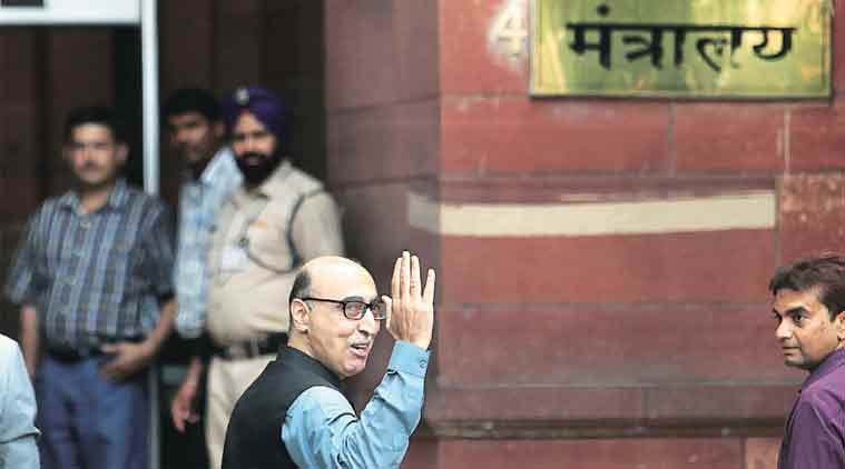 Pakistan High Commissioner Abdul Basit at the Ministry of External Affairs on Sunday. (Express Photo by: Ravi Kanojia)