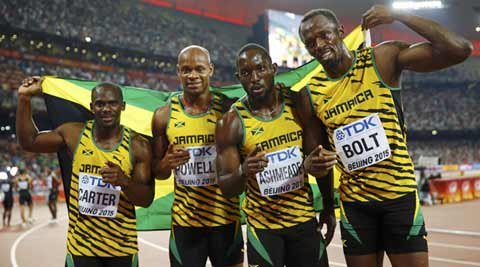Usain Bolt wins sprint treble at Worlds after Jamaica win 4x100m relay
