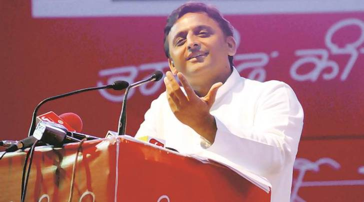 Uttar Pradesh CM Akhilesh Singh Yadav addresses the Samanjwadi party's  workers meet in Patna on Tuesday, Sep 22,2015. (Express Photo By Prashant Ravi)