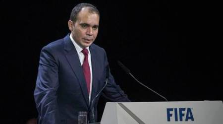"FILE - In this May 29, 2015, file photo, Prince Ali Bin Al Hussein of Jordan speaks during the 65th FIFA Congress at the Hallenstadion in Zurich, Switzerland. Prince Ali bin al-Hussein of Jordan is running for FIFA president, saying Wednesday, Sept. 9, 2015,  he will fight ""deep-seated corruption and political deal-making"" and make soccer's scandal-scarred governing body more transparent. (Patrick B. Kraemer / Keystone via AP, File)"