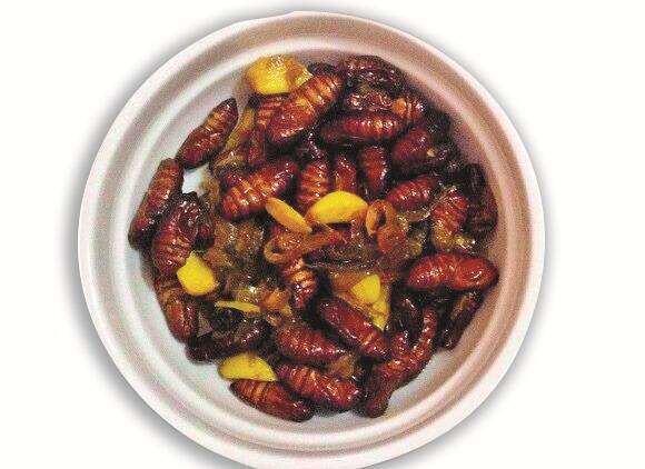 Polu leta, a curry made if silkworm pupae is an Assamese speciality