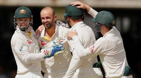 Cricket - England v Australia - Investec Ashes Test Series Second Test - Lord's - 19/7/15 Australia's Nathan Lyon celebrates the wicket of England's Ian Bell with team mates Action Images via Reuters / Andrew Couldridge Livepic