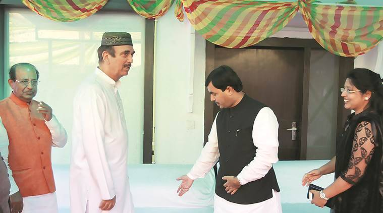 Congress Leader Ghualab navi Azad  celebrate Eid al-Adha with Syed Shahnawaz Hussain family at Shahnawaz  residence in new delhi on Friday Express photo by Prem nath Pandey 25 sep 15