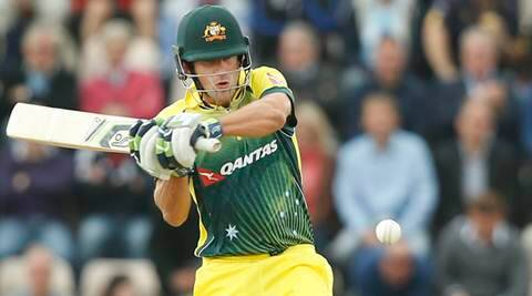 Australia's Joe Burns plays his stroke and takes two runs off the bowling of England's Steven Finn during the one day international cricket match between England and Australia at the Ageas bowl in Southampton, England, Thursday, Sept. 3, 2015. (AP Photo/Alastair Grant)