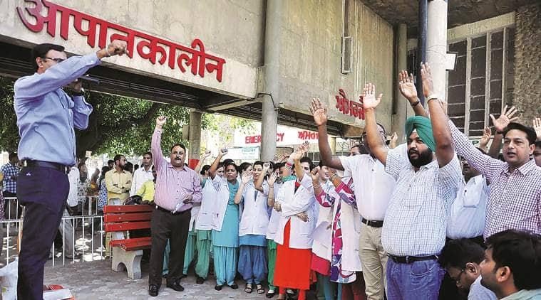 chandigarh, gmsh, chandigarh gmsh 16, gmsh 16 strike, gmsh 16 protests, chandigarh hospital protests, chandigarh news
