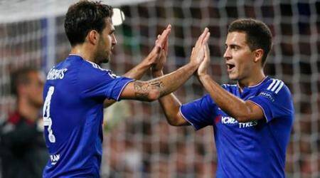Football - Chelsea v Maccabi Tel-Aviv - UEFA Champions League Group Stage - Group G - Stamford Bridge, London, England - 16/9/15 Cesc Fabregas celebrates with Eden Hazard after scoring the fourth goal for Chelsea Reuters / Stefan Wermuth Livepic EDITORIAL USE ONLY.