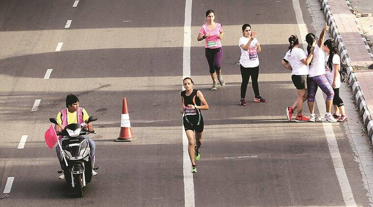 Participants taking part in the `SBI Pinkathon' women's run to encourage and promote fitness and health among women and create awareness form women's wellness and breast cancer, start from Jawahar lal Nehru stadium in New Delhi on Sept 6th 2015. Express photo by Ravi Kanojia.