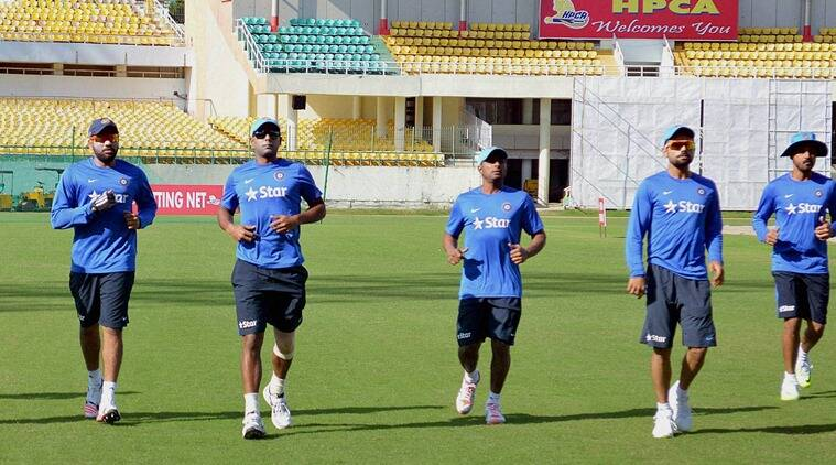 Dharamsala : Team India players during a practice session at International Cricket Stadium in Dharamshala ahead of upcoming Nelson Mandela- Mahatma Gandhi T20 series against South Africa on Monday. PTI Photo(PTI9_28_2015_000227B)