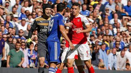 "Football - Chelsea v Arsenal - Barclays Premier League - Stamford Bridge - 19/9/15 Chelsea's Diego Costa clashes with Arsenal's Gabriel Paulista Action Images via Reuters / John Sibley Livepic EDITORIAL USE ONLY. No use with unauthorized audio, video, data, fixture lists, club/league logos or ""live"" services. Online in-match use limited to 45 images, no video emulation. No use in betting, games or single club/league/player publications.  Please contact your account representative for further details."