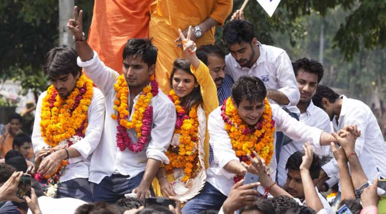 DUSU polls, ABVP, BJP, CYSS, AAP, DUSU elections, Delhi university elections, ABVP news, DUSU news, Delhi university, NSUI, Congress, Delhi news, AAP news,