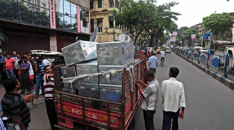 Trunk for Currency Carrying from Raid at 127 B Sarat Bose Road on Thursday. Express photo