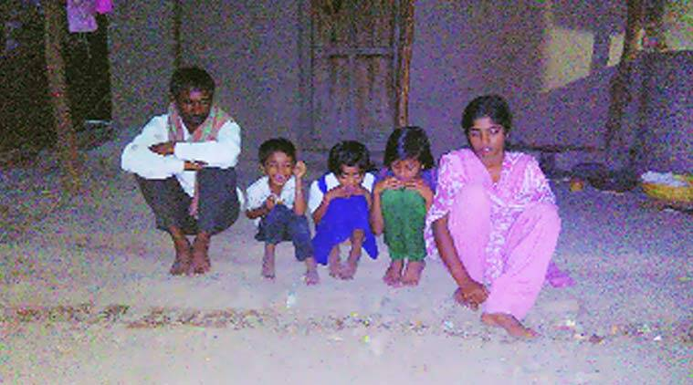 Manisha's husband Laxman Gadkar, with their 3 daughters & one son in Ambi village. Express