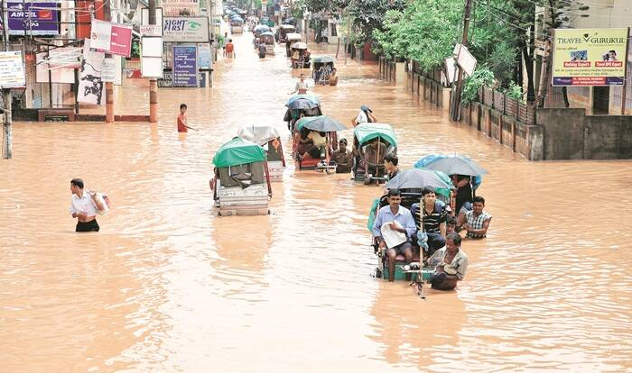 A flooded street during the monsoon