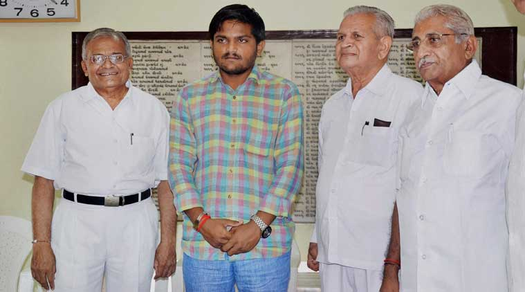 : Patidar Anamat Andolan Samiti (PAAS) convenor Hardik Patel during a meeting with the leaders of Patidar community of Saurashtra (West Gujarat) in Rajkot on Wednesday. (Source: PTI)