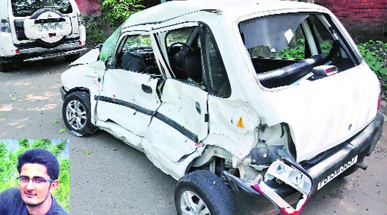 The  damaged car after the accident, in Chandigarh on Friday; (inset) Aftabh Chawla.  Express