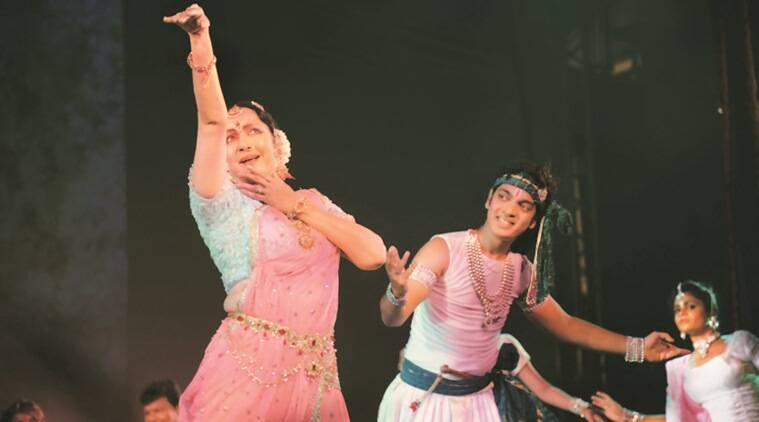 Actor Hema Malini performs Krishna Vandana at the inaugural ceremony of the 27th Pune Festival. (Express Photo by Tanmay Thombre)