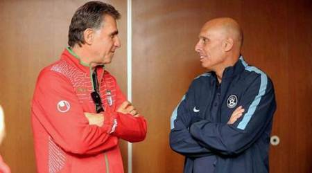 Bengaluru: Head Coach of the Iranian football team, Carlos Queiroz and Indian coach Stephen Constantine share a light moment in Bengaluru on Monday ahead of their World Cup Qualifier match. PTI Photo / AIFF(PTI9_7_2015_000197A)