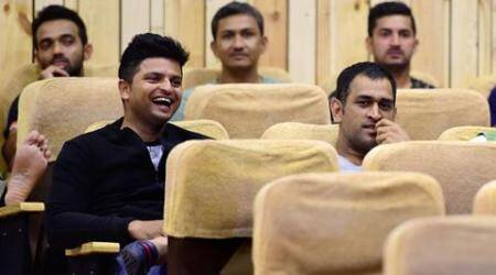 Bengaluru : Cricketer M S Dhoni, Suresh Raina, Mohit Sharma and Coach Sanjay Bangar watch a Movie 'Kis Kis Se Pyar Karu' starr popular comedian Kapil Sharma during an exclusive preview held for cricketers in Bengaluru on Thursday. PTI Photo by Shailendra Bhojak(PTI9_24_2015_000273B)