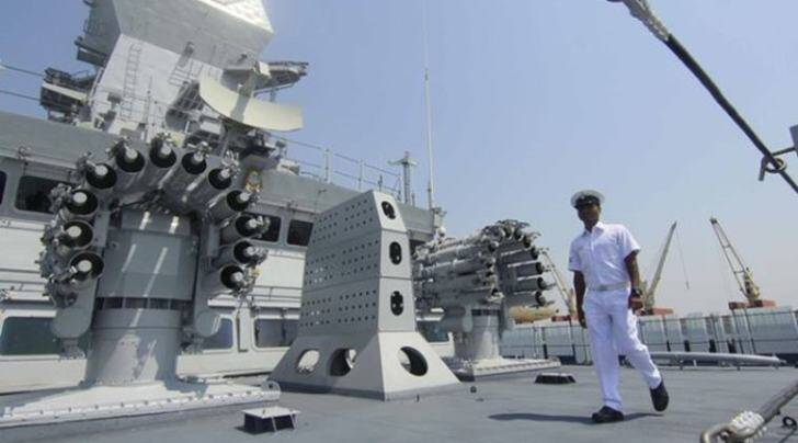 An officer aboard the INS Kochi, a naval warship that was introduced into the fleet of the Indian Navy today (Express photo by Amit Chakravarty)