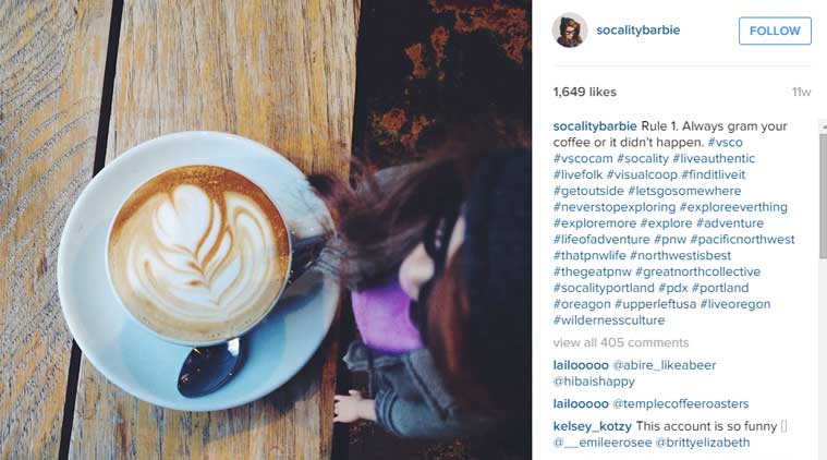 Instagram Coffee by Barbie (Source: Socality Barbie Instagram account)
