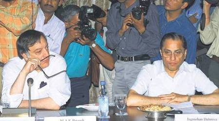 """Tiger Pataudi, the former India, Oxford and Sussex captain and a member of the IPL governing council along with Sunil Gavaskar and Ravi Shastri."" *** Local Caption *** ""Jagmohan Dalmiya (R), president of the International Cricket Council, waits with former Indian cricket captain Mansoor Ali Khan Pataudi prior to the start of the Board of Control for Cricket meeting in New Delhi April 27. The meeting has been called to take stock of the situation in the aftermath of the betting and match-fixing scandal involving South African captain Hansie Cronje and his three team mates.    KK/DL"""