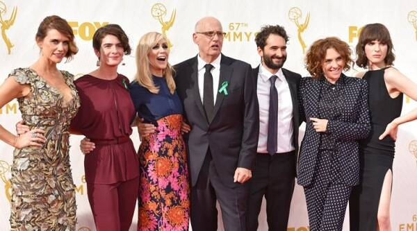 Emmy Awards, Emmy awards 2015, Emmy 2015, Emmy 2015 Photos, Jeffrey Tambor, Transparent, Gaby Hoffmann, Game of Thrones, George R R Martin, green ribbons, Barack Obama, Entertainment news