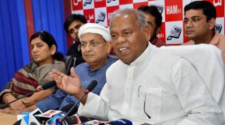 Patna: Hindustani Awam Morcha (Secular) leader Jitan Ram Manjhi addresses a press conference after releasing second list of candidates for the Bihar Assembly in Patna on Sunday. (Source: PTI Photo)