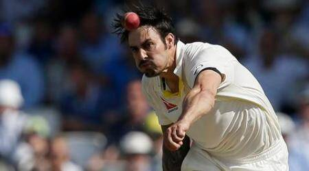 Australia's Mitchell Johnson bowls to England's Jonny Bairstow on the third day of the fifth Ashes Test match between England and Australia, at the Oval cricket ground in London, Saturday, Aug. 22, 2015. (AP Photo/Tim Ireland)