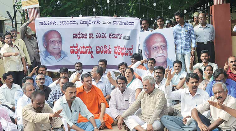 Dharwad saw protests on Monday over the murder of Kalburgi. (Source: Express Photo)