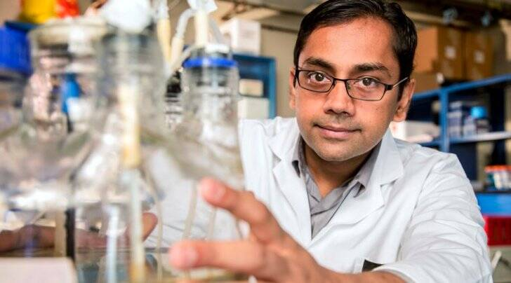 """In this Sept. 19, 2015 photo provided by the John D. and Catherine T. MacArthur Foundation, environmental engineer Kartik Chandran, poses for a photo at Columbia University in New York. Chandran was named Tuesday, Sept. 29, 2015, as one of 24 winners of this year's MacArthur Foundation """"genius grants."""" (John D. and Catherine T. MacArthur Foundation via AP)"""