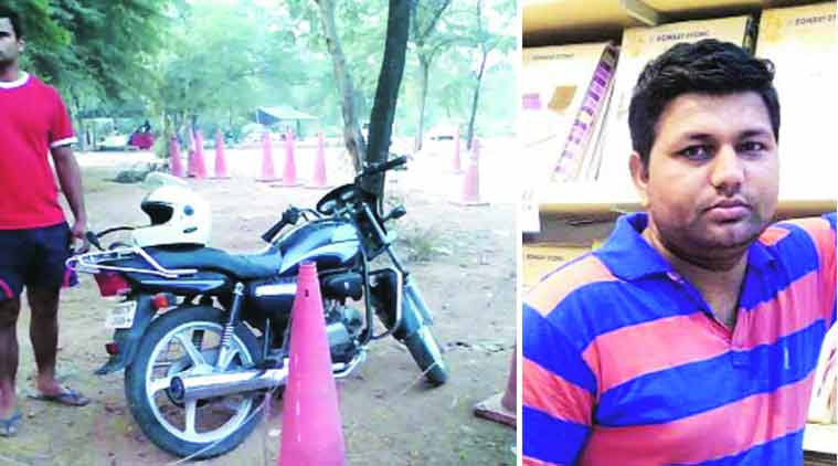 Motorcycle of Sanjeev Kumar (top) found abandoned at the High Court parking in Chandigarh on Wednesday. (Source: Express Photo)