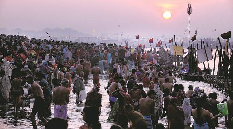 A large number of devotees gathered at the bank of Sangam for the second snan of Maha Kumbh in Allahabad on Sunday, January 27 2013. Express photo by vishal Srivastav