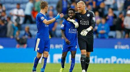 "Football - Leicester City v Aston Villa - Barclays Premier League - King Power Stadium - 13/9/15 Leicester City's Nathan Dyer celebrates with Kasper Schmeichel and Jamie Vardy at full time Reuters / Darren Staples Livepic EDITORIAL USE ONLY. No use with unauthorized audio, video, data, fixture lists, club/league logos or ""live"" services. Online in-match use limited to 45 images, no video emulation. No use in betting, games or single club/league/player publications.  Please contact your account representative for further details."