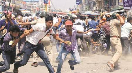 Civic police volunteers lathicharged