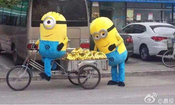 Minions, Minions selling bananas, Minions China Bananas, Minions selling bananas in China, minions movie, minion movie 2015