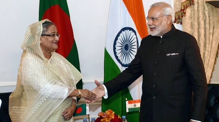 Prime Minister Narendra Modi shakes hands with his Bangladeshi counterpart Sheikh Hasina Wazed during a meeting in New York (Representational Image). (PTI Photo)