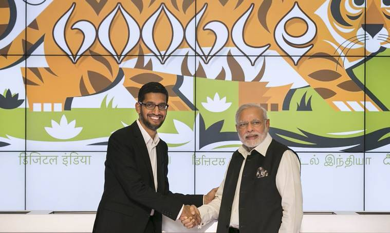 Narendra Modi, PM Modi Google, PM Modi at Google headquarters, Modi at Google headquarters, Modi in Silicon Valley, WiFi in railway stations, Modi Google, Google free WiFi railway stations, Modi in US, Sundar Pichai, Google CEO, Modi Sundar Pichai, Modi Live, technology, technology news