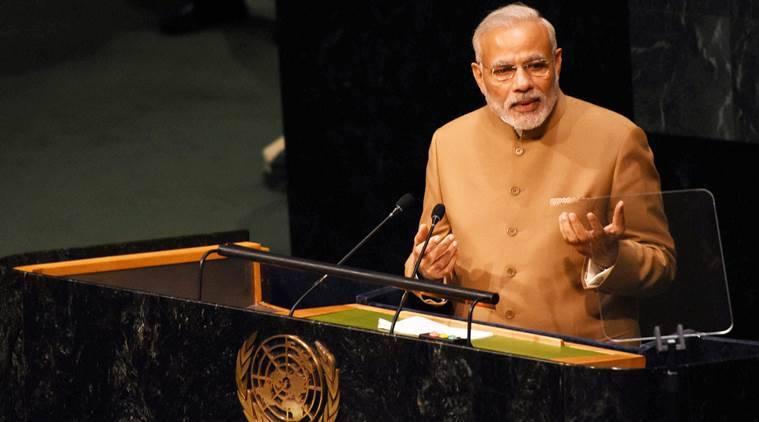 New York: Prime Minister Narendra Modi addresses the 70th session of the United Nations General Assembly at UN headquarters in New York on Friday. PTI Photo by Subhav Shukla (PTI9_25_2015_000307B)