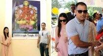Dhoni, wife Sakshi visit Siddhivinayak Temple in New Jersey