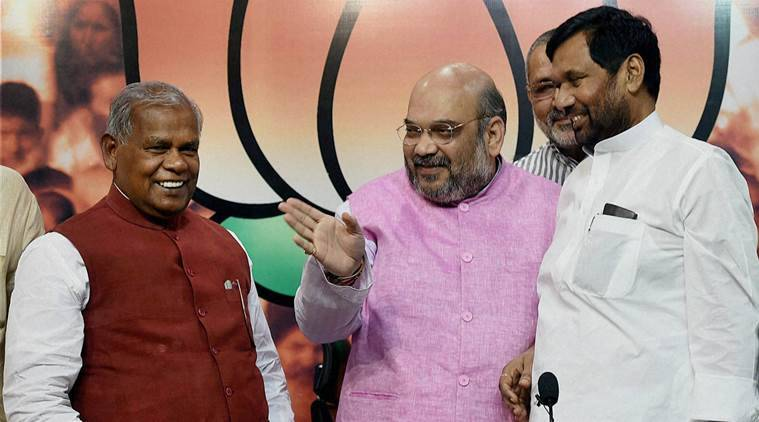 bihar elections, bihar polls, Jitan Ram Manjhi, Ram Vilas Paswan, bihar election 2015, NDA, Bihar BJP, BJP seat sharing, bihar news, india news, latest news, top stories
