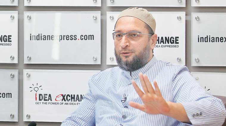 AIMIM president Asaduddin Owaisi with Assistant Editor Abantika Ghosh at The Indian Express office.  (Source: Express Photo by Ravi Kanojia)