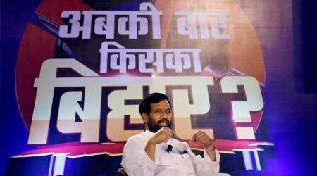 Union Minister and LJP chief Ram Vilas Paswan speaks during the programme on Bihar elections 'Abki Bar Kiska Bihar' in Patna on Thursday. (Source: PTI Photo)