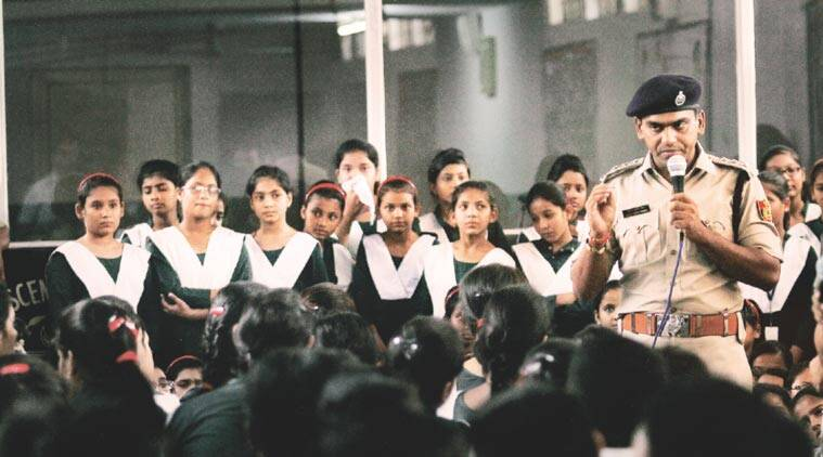 'Operation Nirbheek': A session held by officers at Crescent Public School in Northeast Delhi. (Source: Express photo by Praveen Khanna)