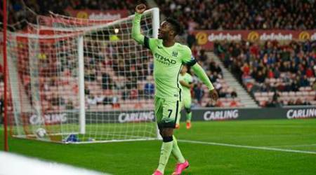 "Football - Sunderland v Manchester City - Capital One Cup Third Round - Stadium of Light - 22/9/15 Raheem Sterling celebrates after scoring the third goal for Manchester City Action Images via Reuters / Lee Smith Livepic EDITORIAL USE ONLY. No use with unauthorized audio, video, data, fixture lists, club/league logos or ""live"" services. Online in-match use limited to 45 images, no video emulation. No use in betting, games or single club/league/player publications.  Please contact your account representative for further details."